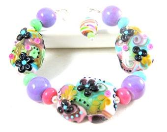 Colorful Pastel Bracelet, Funky Bracelet, Pink Purple Blue Green Glass Bracelet, Statement Bracelet, Hippie Bracelet Abstract OOAK - Groovy