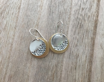 Silver Disc Earrings with Brass Accent