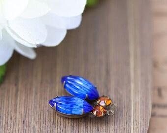 Vintage Rhinestone Charms Sapphire Blue Pillow Glass Navette Rhinestone Cabochon Stone Jewel Prong Set Bead Pendant Drop Charm 22mm