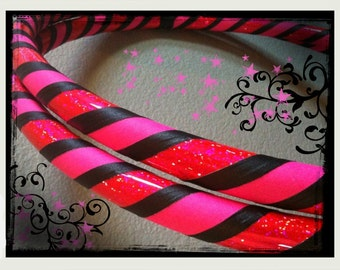 Robust A Move Dance & Exercise Hula Hoop COLLAPSIBLE or Push Button - neon pink glitter black