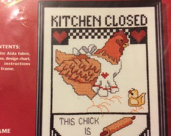 KITCHEN CLOSED This Chick is Eggs-hausted Counted Cross Stitch! by Henpecked.  Frame included!