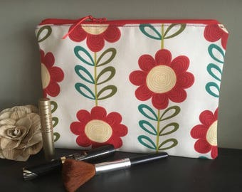 Beautiful lined pouch, Mini tablet case, Zip makeup case, Cosmetics bag, Red floral purse, Fabric iPad cosy, iPad Mini storage, Pretty gifts