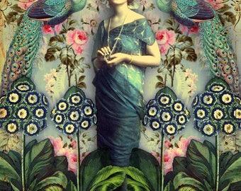 Blue dress. Greeting card. Art card. Romany soup.