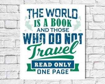 The world is a book print digital download printable art wall decor print modern decor design artwork