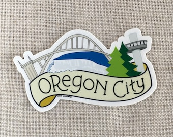Oregon City Oregon Vinyl Sticker, Willamette Falls, The Arch Bridge, Laptop Sticker, Water Bottle Sticker, Oregon Sticker, Waterproof