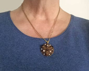 Elegant Gold Filigree and AB Rhinestone Repurposed Pendant Necklace