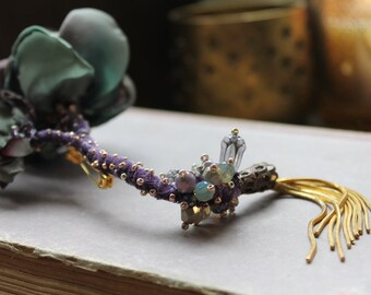 Artisan flower brooch Textile art brooch OOAK fairy brooch