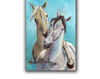 Playful Horses Acrylic LLMartin Original Watercolor Painting Virginia Country  Free Shipping USA