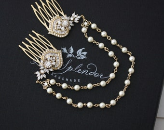 Gold Wedding Headpiece Pearl Crystal Hair Chain Bridal Hair Combs Set Swarovski  Boho Bridal Hair Art Deco Modern Accessory EVIE