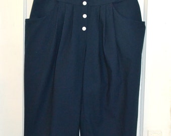 Vintage Capri Pants - Holiday Gulfside - Navy Cotton Pedal Pushers - Snap Front - Made in Italy - s/m