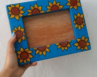 Mexican photo frame, Sunflower photo frame, Mexico family picture frame, Mexican talavera photo frame, Mexican Portrait,  Photograph frame