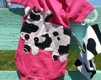 Cow on Pink Onesie with Matching Leggings