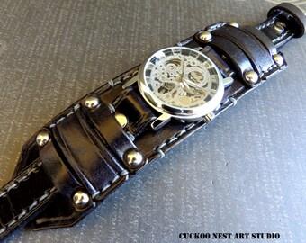 Black steampunk leather wrist watch, Mens wrist watch, Black leather cuff, Bracelet watch