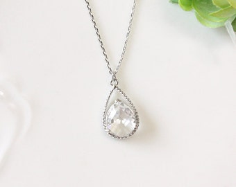 Clear crystal drop necklace, birthstone of April