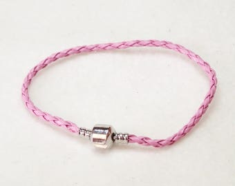 "20cm (8"") Braided Leather European Charm Bracelet in Pink"