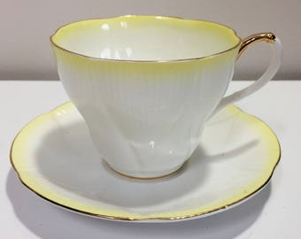 Royal Albert English Tea Cup and Saucer bone china Rainbow Series yellow