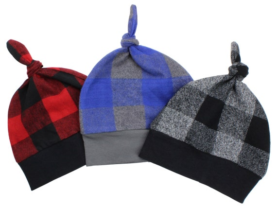 Buffalo Plaid Assorted Top Knot Beanie Baby Hats Red and Black Buffalo Check Blue and Gray Flannel Winter Hat Fall Hat Baby Lumberjack Hat