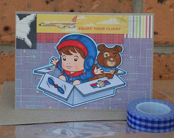 Enjoy Your Flight Card with Pilot Luka Handmade Card