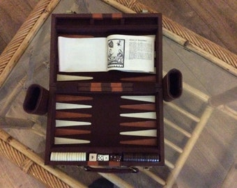 1970's leather travel case backgammon game set