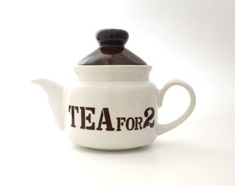 TEA FOR 2 Teapot in White with Brown Lettering and Brown Lid