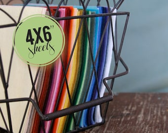 Wool Blend Felt Collection // 4x6 // Charm Pack, Entire Felt Line, Rainbow Fabric, Wool Bundle, Sample Pack, Felt Sheets, Small Felt Sheets