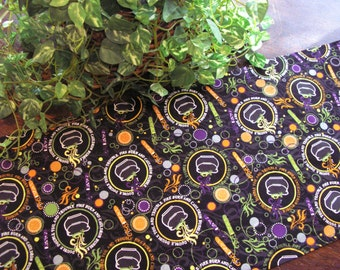 Halloween Table Runner Double Double Toil & Trouble Reversible Orange Padded