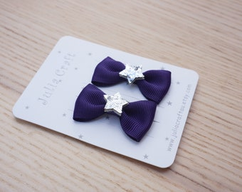 A pair Classic Bow with Glitter Silver Star Hair Tie, 4.5cm Bow, Baby/Infant/Toddler Tiny/Mini/Fine Hair Elastics -Julia Craft Australia