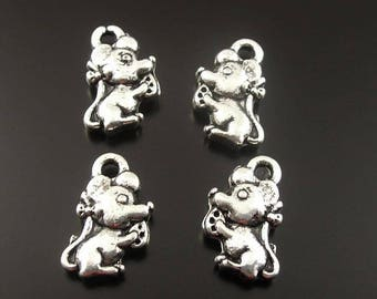 10 little mouse and cheese silver metal charms