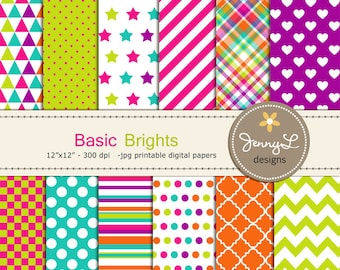Colorful Brights Digital Papers for Digital Scrapbooking, Invites,