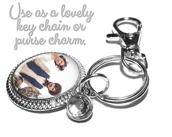 Personalized Picture Purse Charm or Key Ring Key Fob or Wedding Bouquet Charm, Custom Photo Key Chain Gift for the Bride