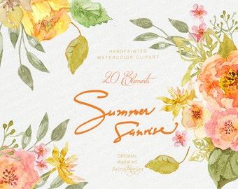 Summer Sunrise WATERCOLOR Clipart - Shabby Flowers - digital flowers, DIY invites, Clip art, scrapbooking, wedding invitations, florals, tag