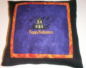 Happy Halloween Haunted House Embroidered Pillow Cover