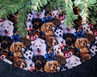"Puppies Christmas tree skirt handmade- 35"" wide"