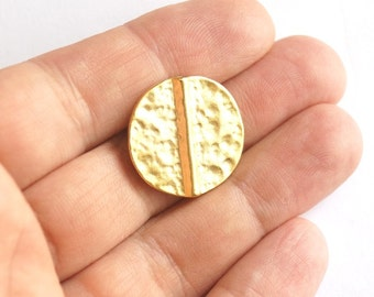 3pcs- Matte Gold Plated  hammered circle spacer, charm, bead-22mm-(008-026GP)
