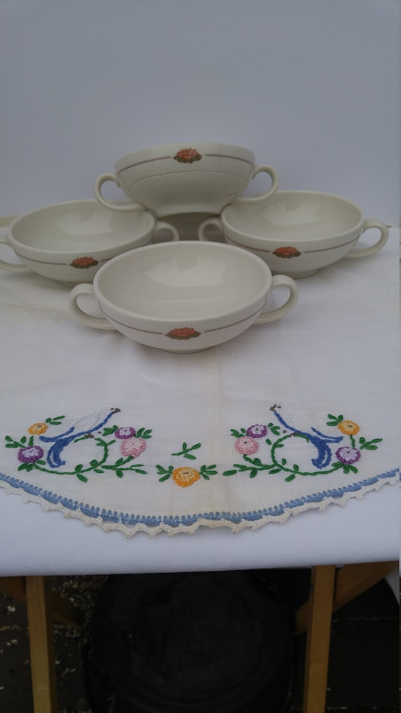 Vintage Two Handle Soup Bowl Syracuse China Set of 4
