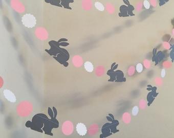 Bunny birthday Garland / Bunny baby shower Decorations / Pink & Gray Bunny Nursery Decor / Spring Decor / Some Bunny is One -Custom colors