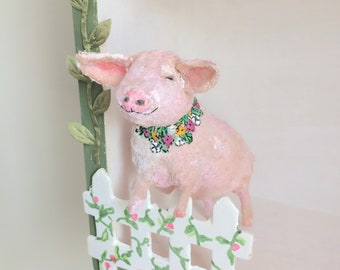 Cotton Batting Pig, Pink Pig, Flower Garland, Soft Sculpture