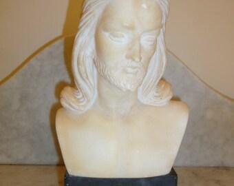 Religious art white marble bust of Jesus Christ circa 1930