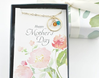 Mothers Day Gift | Birthstone Necklace for Mom, Personalized Eternity Circle Necklace, for Grandma, Mom Necklace, Grandmother Gift | M02