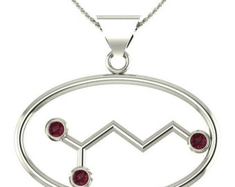 """Molecule Gaba """"calm"""" sterling silver oval necklace set with birthstones - Molecular Bliss"""
