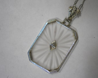 Vintage 14 kt White Gold Filigree Rock Quartz Camphor Diamond Pendant Necklace 16 Inches