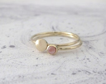 Coral and 9ct yellow gold rings - set of 2 - Orbit Collection