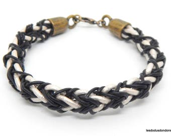Braided leather bracelet, woman, man, teen, pearly white and black