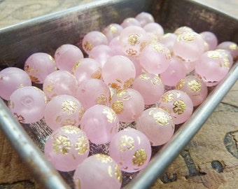 Pink Bead West German Acrylic Beads Vintage Matte Pink and Gold Bead (6)