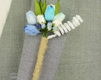 Blue Paper Flower Buttonhole - Rustic Buttonhole - Boutonniere - Something Blue - Rustic Wedding - Grooms Butonhole - Wedding Buttonhole