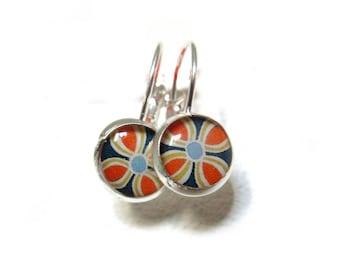 FLOWERS EARRINGS - dangle Earrings - blue, orange - Vintage Earrings - Geometric Earrings - Boho Earrings - Flower pattern Earrings