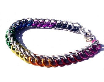 Chainmaille Jewellery, Rainbow and Silver Half Persian Bracelet