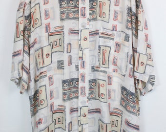 Vintage shirt, 80s clothing, shirt 80s, silk, white, pattern, short sleeves, oversized