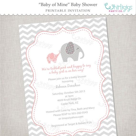Elephant baby shower invitation printable digital file or like this item filmwisefo Images