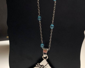 Silver and Turquoise Dragonfly Pendant Necklace